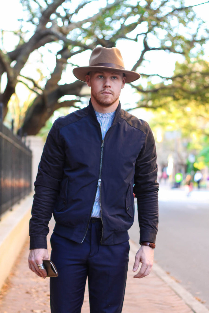 Zac Chambers rocking a double-zip Todd Snyder bomber. Photo courtesy of Brothers & Craft.