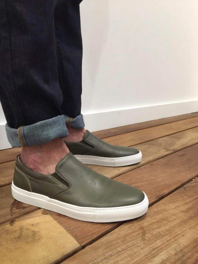The perfect type of shoe to wear with some rolled denim. Dark jeans by Mott & Bow. Leather slip-ons by GREATS Brand.