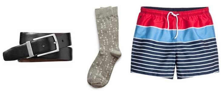 A reversible belt, neutral socks and a striped swimsuit should finish things off nicely.