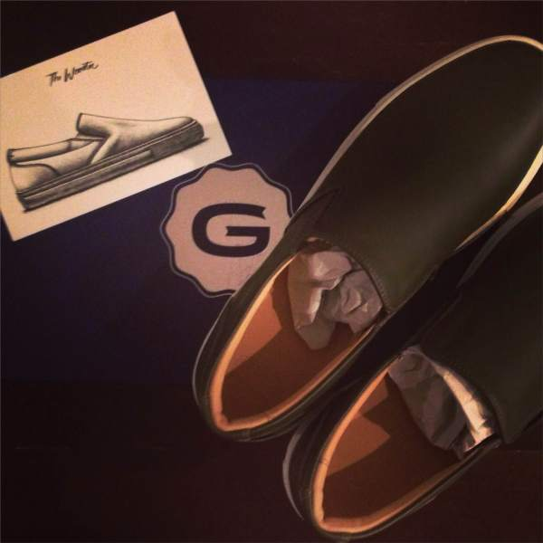 A look at the initial packaging of the GREATS Leather Wooster.