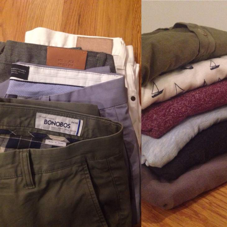 On the left: Olive Bonobos Washed Chinos, Sky Blue Combat Gent chinos, grey Billy Reid selvedge denim, white Mott & Bow denim (just part of the lineup). On the right, top to bottom: Pistol Lake henley, J. Crew Factory printed shirt, Steven Alan pocket tee, H&M V-neck, American Apparel & Everlane pocket tees.