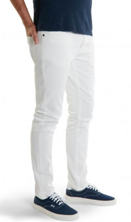 "The Skinny fit of Mott & Bow's  new white denim features a trim 13 1/2"" leg opening."