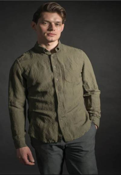 A lightweight shirt with a more open weave, like this linen number from Stock Mfg. Co., is the way to go when it's hot.