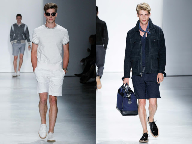 Strong outerwear (as seen on the right) and lightweight, sportier pieces like the white knit, seen on the left, characterized the collection.