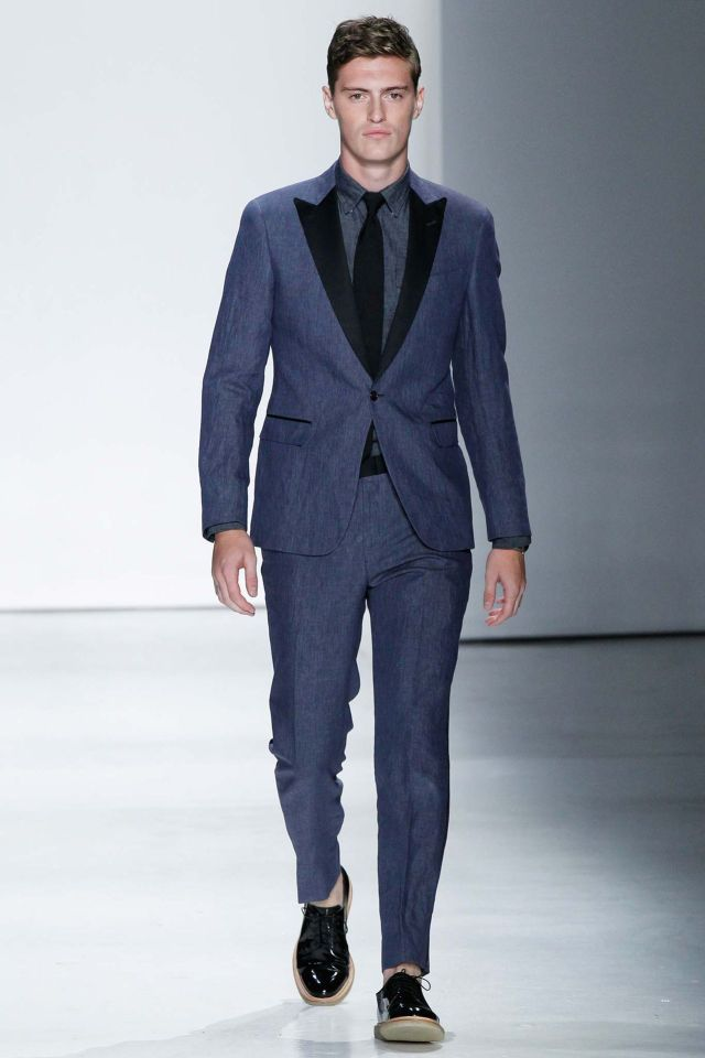 The designer's relatively affordable White Label line is set to feature classics like a medium-blue piped tuxedo.