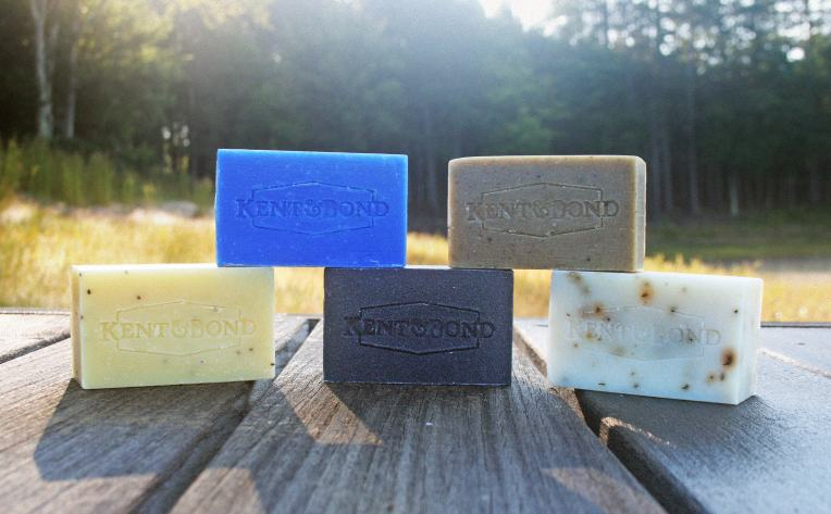 The full run of the brand's popular Body Brick soaps. Photo courtesy of Kent & Bond.