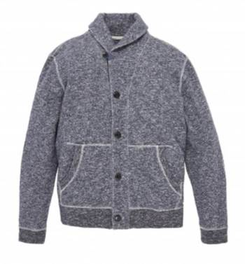 A shawl cardigan and soft fabric make this a nice high-low piece.