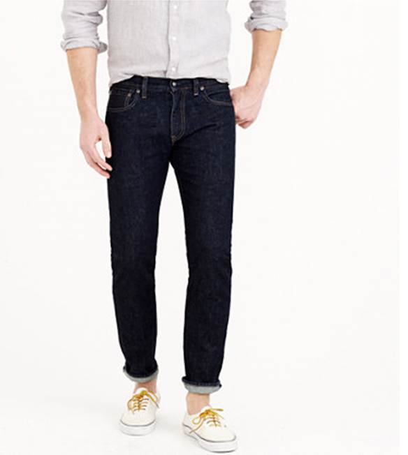 J. Crew's take on the classic blue jean features a tailored fit and crisp color.