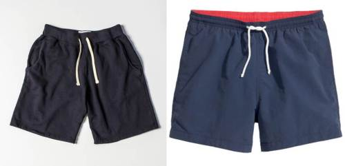 On the left: A sporty pair of sweatshorts that allow for flexibility and casual style. On the right: Cheap swim trunks that can easily be replaced.