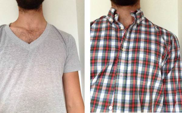Before and after -- the Retro Fit Tri-Blend Heather Grey V-neck pictured on its own, and then beneath a shirt. No bunching of fabric near the collar. Spring Plaid Shirt by Gustin.