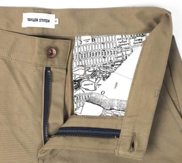 A closer look at the vintage map detailing and sturdy hardware that help set these chinos apart.