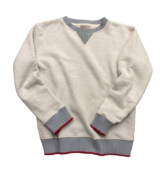 The sweater that started it all --a colorblocked crewneck made out of high-quality fabric.