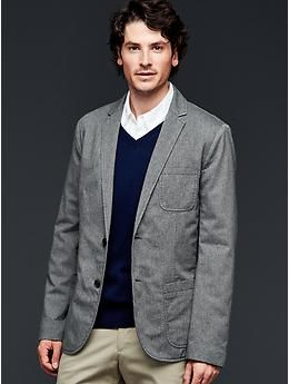 A nice color combo and casual patch pockets make this one blazer to take business-casual ... or just casual.