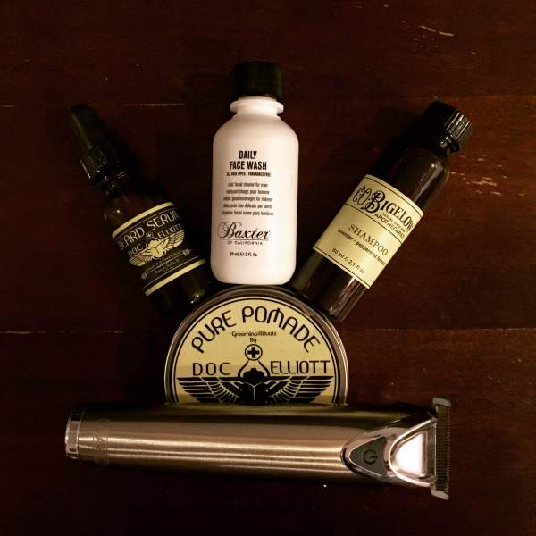 Grooming gear fit for the road ahead. Featuring Beard Oil & Pure Pomade from Doc Elliott, Shampoo from Baxter of Californina and the Wahl Grooming Stainless Steel Trimmer.
