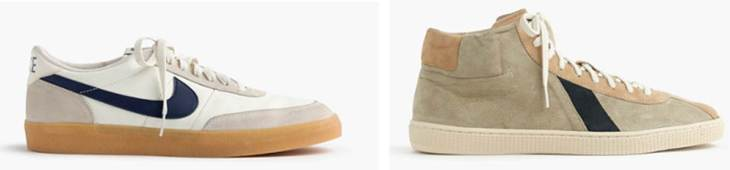 Two different takes on a sneaker, both sold by J. Crew.