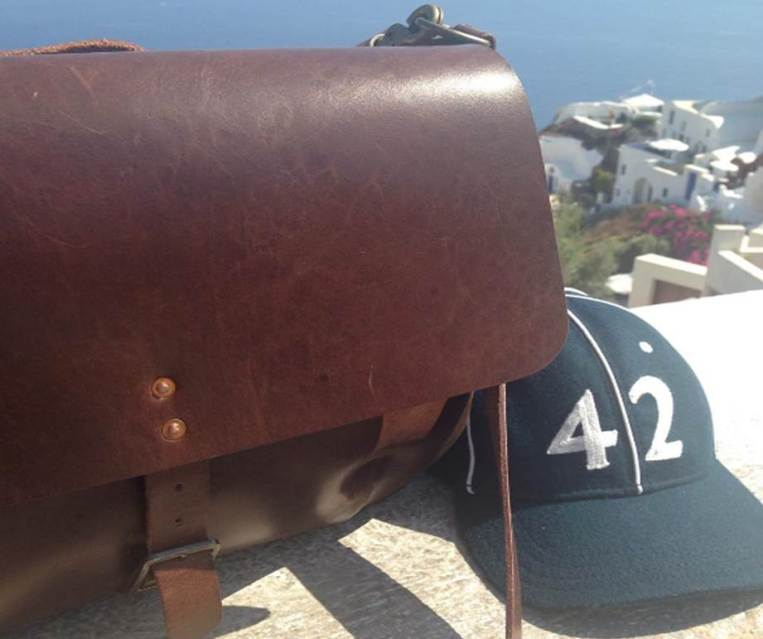 Another shot from beautiful Santorini, Greece. The Slim Mailbag alongside a Goorin Brothers vintage ballcap.