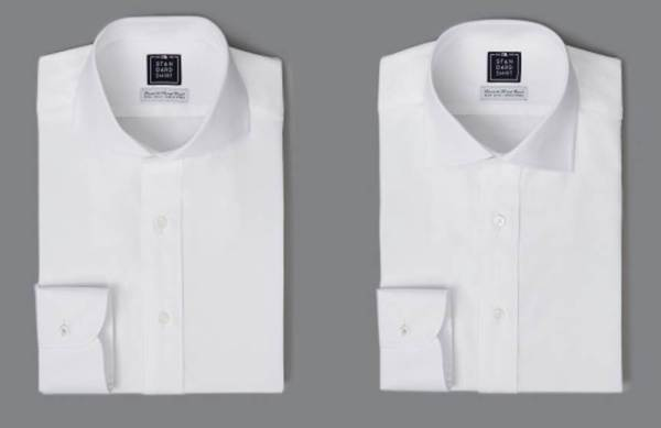 Two collar styles in a basic -- yet essential white dress shirt.