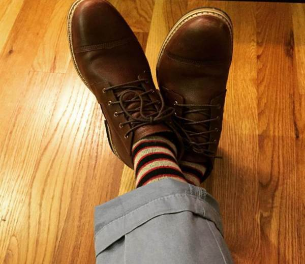 The medium weight and striped pattern make these socks a great pair to ground complementary colors. Sky-blue chinos by Combatant Gentleman. Waterproof chukka boots by Timberland.