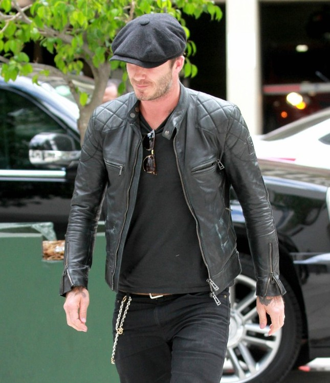 Stick in the same color family when wearing an edgier moto jacket and you'll be just like Beckham. Well, maybe not just like him...