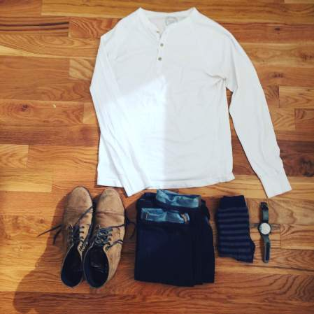 The perfect type of outfit for the KOMONO Winston Herringbone Watch. Slim denim by Mott & Bow. White henley by Pistol Lake. Boots by Thursday Boots. Socks by American Trench.