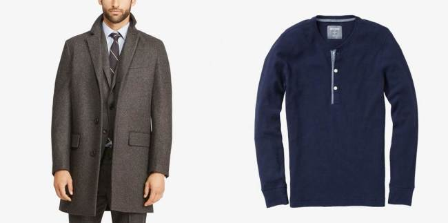 A killer topcoat and a killer henley, both items you should consider picking up on sale.