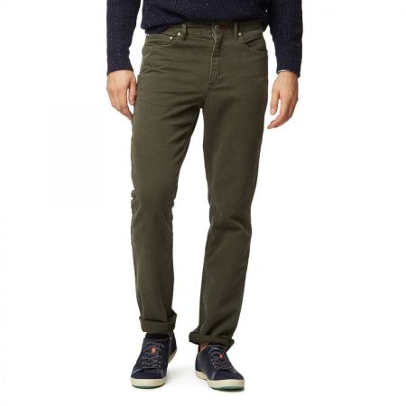 While not a true corduroy, the washed fabric and nice olive color make for a great pair of Bedford cords.
