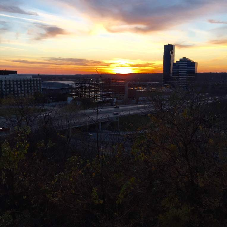 The sun sets on a crisp fall Saturday in Grand Rapids.