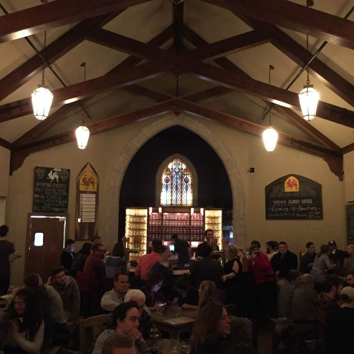 A reverential approach to beer (the brewery is housed in an old funeral home) keeps things classic at Brewery Vivant.