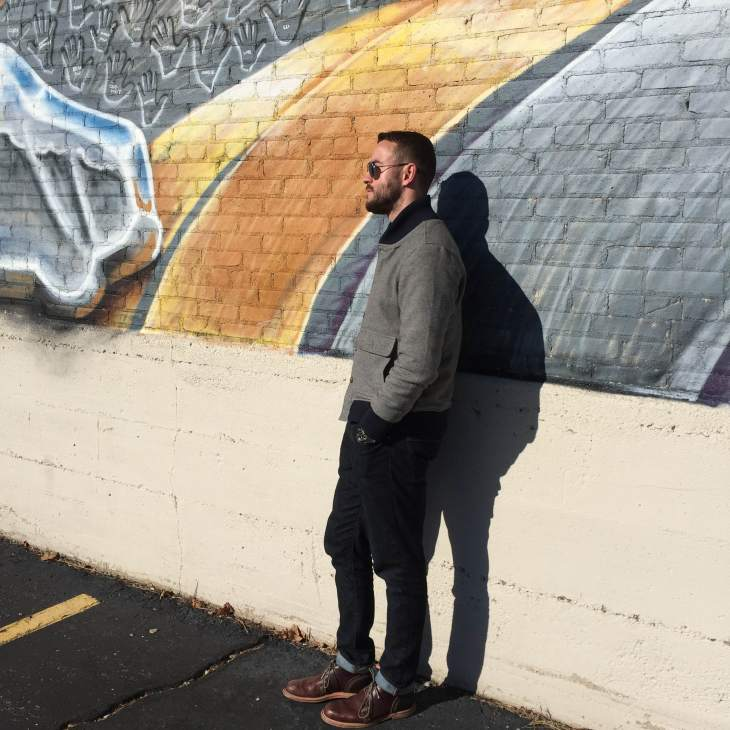 Stumbling upon cool murals was a highlight in a city known for its burgeoning art scene. Slim denim by Mott & Bow. Down jacket by JACHS NY. Sunglasses by Randolph Engineering. Leather chukkas by Timberland.