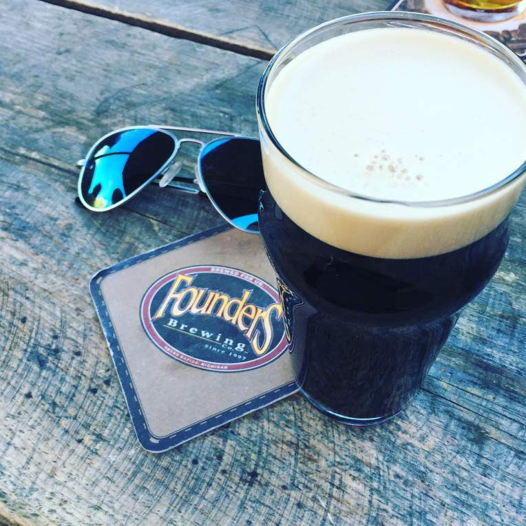 Sunglasses by Randolph Engineering. Delicious, creamy Oatmeal Stout by Founders Brewing.
