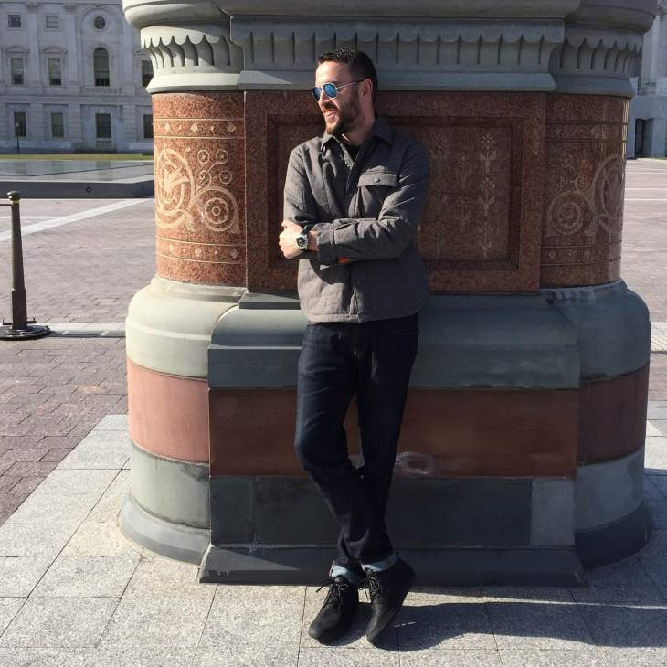 Stopping for a second near the Capitol Building. Quilted shirt-jacket by Addict. Sunglasses by Randolph Engineering. Slim denim by Mott & Bow. Black chukka sneakers by Reef. Black rubber strap watch by Stuhrling.
