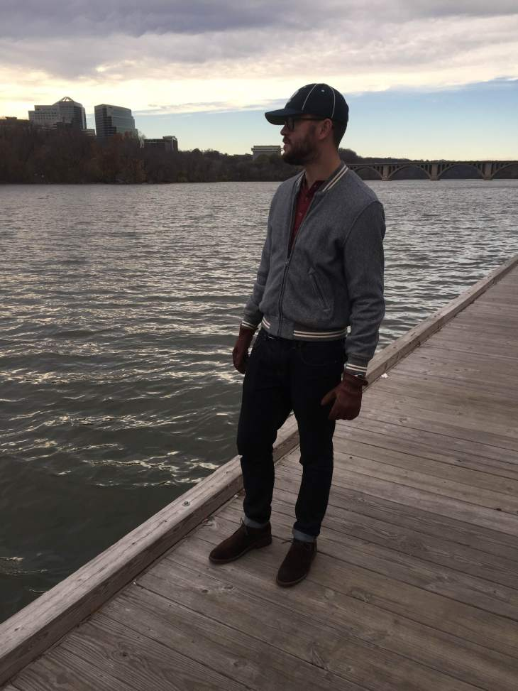 Exploring DC and walking along the Potomac River. Burgundy henley by Pistol Lake. Russel Baseball Jacket by Grayers. Leather gloves by Iron & Resin. Chocolate Suede Scout Chukkas by Thursday Boots. Vintage ballcap by Goorin Broothers. Glasses by Warby Parker.
