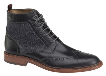 A dressy wingtip boot with seasonal fabric design touches to stand up to the chilly weather.