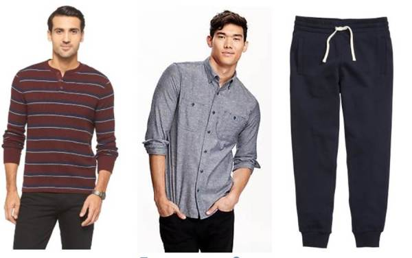 A striped henley from Target, a solid chambray from Old Navy and basic sweats from H&M -- all with the chance for discounts today.