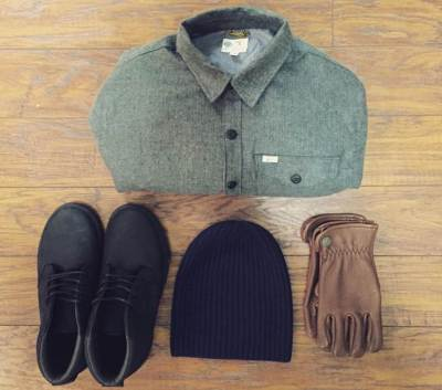 One weather-ready way to accessorize the rugged Reef x H.D. Lee workshirt. Merino watch cap by American Trench. Gloves by Iron & Resin. Black sneakers by Reef.