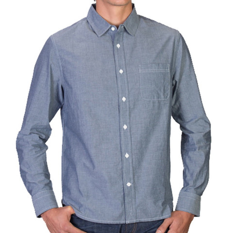A simple chambray is the way to go here, especially one that's been pre-washed.