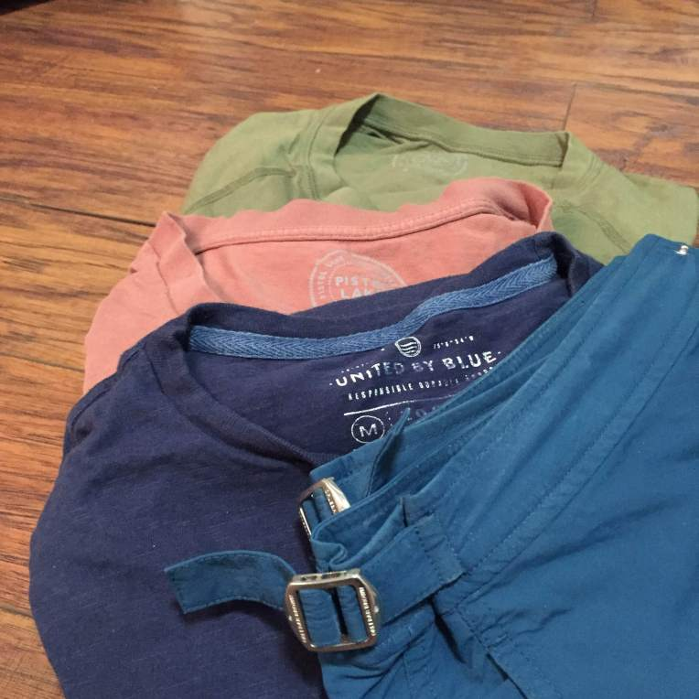 Simple, easygoing tees from Pistol Lake and United By Blue, plus my Orlebar Brown Setter Swim Trunks.
