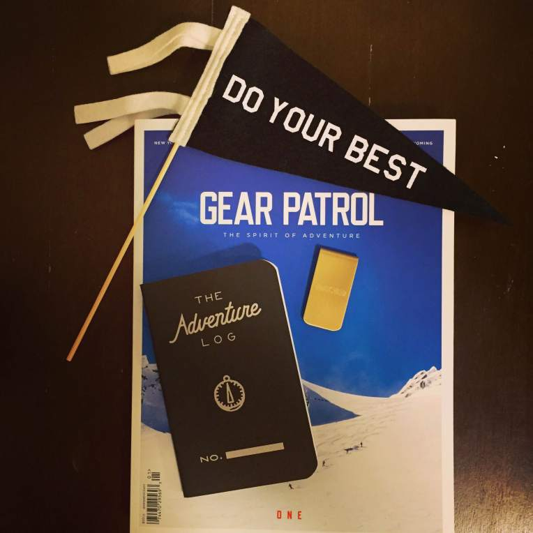 Some weekend style essentials. Pennant by Sweet Potato Four. Brass money clip by Owen & Fred. Adventure Log by Word Notebooks. Print magazine fit for the weekend made by Gear Patrol.