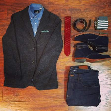 Plenty of blue to go around. Chambray shirt by Todd Shelton. Charcoal blazer by Uniqlo. Navy suede 1000 Mile boots by Wolverine. Norfolk Raw Denim by Mott & Bow. Red knit tie by 15ties. Leather belt & floral pocket square by J. Crew. Striped socks by American Trench.