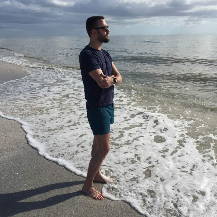 Exploring the beaches near Fort Myers. Setter Swim Trunks by Orlebar Brown. Organic cotton pocket tee by United By Blue. Eco-friendly watch by Sprout. Snowdon Sunglasses by Tom Ford (thanks Santa!).