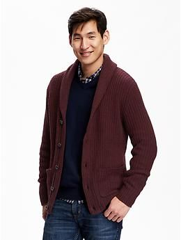 A rich color and ribbed knit make this a solid house sweater for a cozy Christmas.