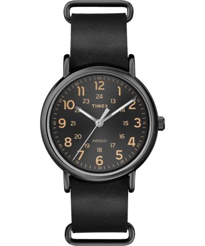 A black leather strap and that simple Timex dial create the ideal happy medium for the rest of this outfit.