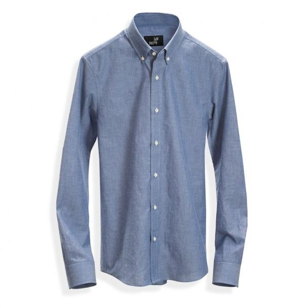 The chambray shirt on its own -- a slim fit and nice texture to the fabric make this shirt a keeper!