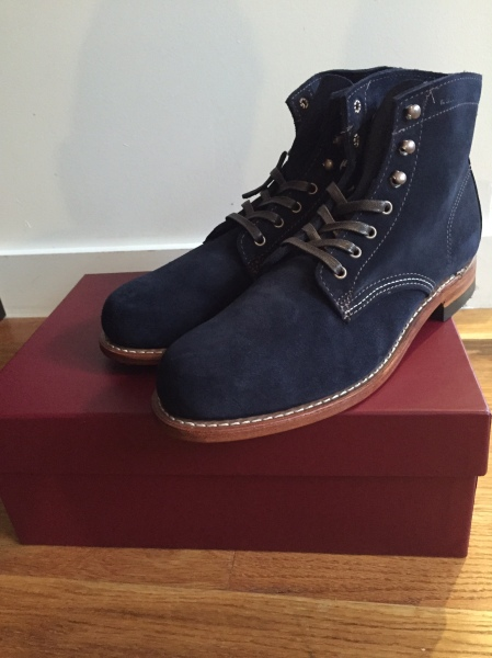 The Wolverine 1000 Mile Boot in Navy Suede, in person -- a Style Guide favorite.