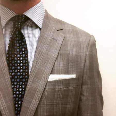 One of my goals in 2016 -- dress up a bit more! Blue Double Windowpane Shirt, Floral & Dot Brown Tie and custom Glenplaid Suit all by Combatant Gentleman. Pocket square by Banana Republic.