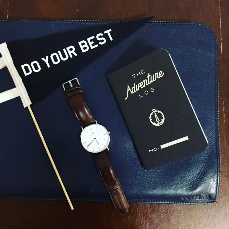Going in person with a leather laptop sleeve from Issara. Classic Bristol leather watch by Daniel Wellington. Adventure Log by Word Notebooks. Pennant by Three Potato Four.