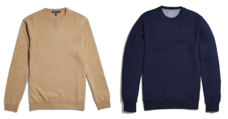 Two crewneck choices from JackThreads -- one a dressy cashmere, the other a quilted indigo piece.