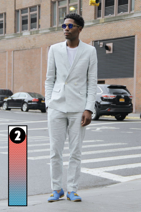 Jamal as seen on the street during the first-ever New York Fashion Week: Men's this past summer.
