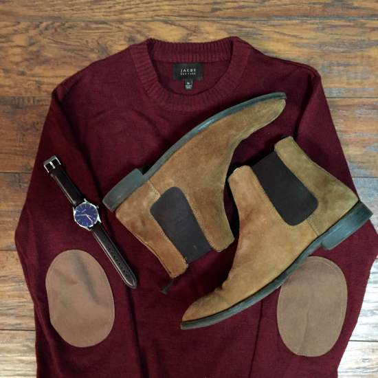 The blue dial lends itself surprisingly well to pairing with rich style staples like tan Chelsea boots (from ASOS) and an elbow-patch sweater (from JACHS NY).