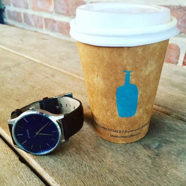 Another must-have when starting the day, besides a great watch -- delicious coffee! Brew shown here by Blue Bottle.